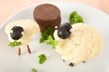 Schafe aus Blumenkohl