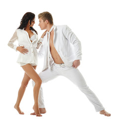 Erotic dance of two people in love