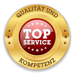 Roter Top Service Siegel Mit Gold Rand