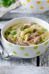 Chicken cream soup with pasta