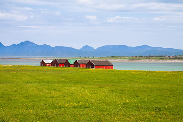 Norwegian traditional boathouse in countryside