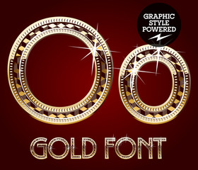 Vector set of gold rich alphabet. Letter O