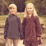 First love, romantic concept, little boy and girl holding hands poster