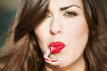 woman with candy stick