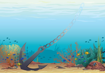 Anchor and coral reef. Underwater vector.