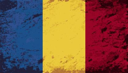 Romanian flag. Grunge background. Vector illustration