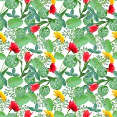 Bright pattern with leaves and flowers