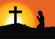 Silhouette of a woman praying under the cross - 78356968