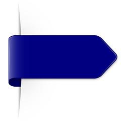 Langer dunkelblauer Sticker Pfeil mit Schatten und Textfreiraum