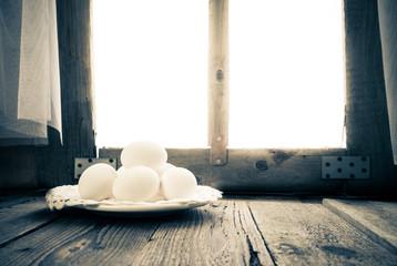 Old kitchen table rural hut morning egg