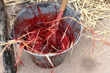 sangre de cerdo en la matanza