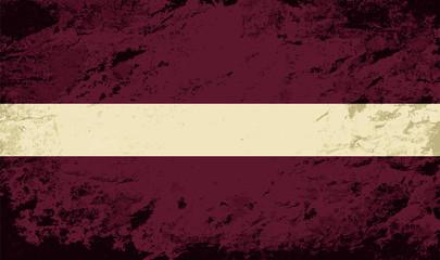 Latvian flag. Grunge background. Vector illustration