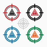 Pictograph of attention caution on target icons background poster