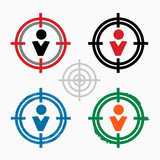 Pictograph of businessman on target icons background poster