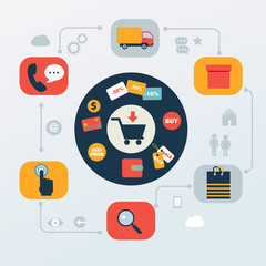 flat icons set of online shopping internet  infographic design e