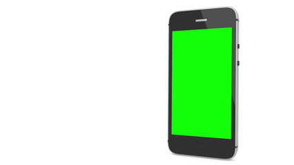 Animation of a chroma key screen of a smartphone against white