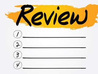 Review Blank List, vector concept background