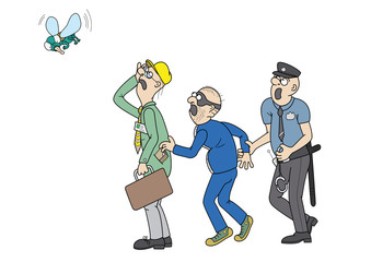 Office worker a pickpocket a policeman and a big fly