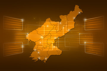 North Korea Map World map News Communication yellow gold