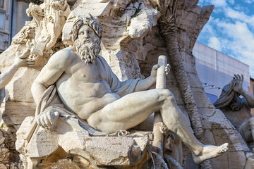 Fountain of the Four Rivers closeup at Piazza Navona, Rome, Ital
