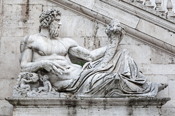 Detail of facade of Palazzo Senatorio on the Capitol hill, Rome,