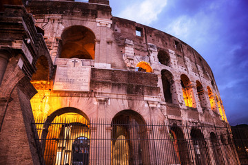 Night view of Roman Coliseum, Rome, Italy.