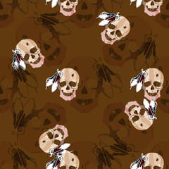 Seamless pattern with skull of an Indian tribe Lakhota