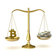Scales of justice with bitcoin symbol and hundred dollar bills