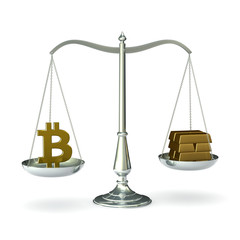 Classic scales of justice with bitcoin symbol and gold bars
