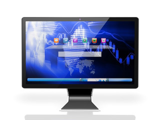 desktop with blue screen on white background
