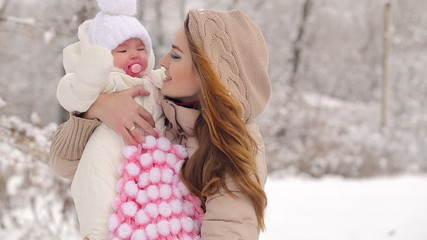 Smiling Young Mother With Child in Winter