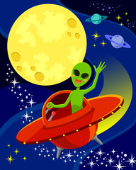 illustration of alien in space with space for text in the moon.