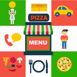 vector set of flat icons for italian pizza service - 78359957