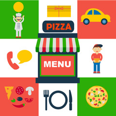 vector set of flat icons for italian pizza service