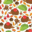 seamless pattern hedgehog in a forest clearing