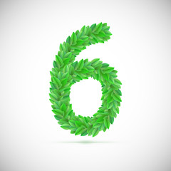 Number six, made up of green leaves