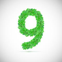 Number nine, made up of green leaves