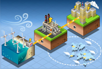 Isometric Infographic Windmill Offshore Renewable Energy Diagram