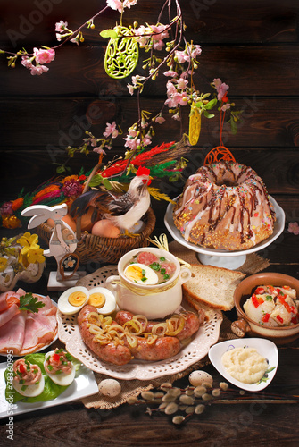 Fotobehang Restaurant easter traditional dishes on rural wooden table