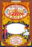 Fototapety Circus Show Retro Template Party Invite. Cartoon Poster Invitation Kid Birthday Party. Carnival Festival Theme Background Acrobatics Cabaret Vintage vector. Acrobat Clown Strip Card Game Illustration