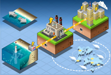 Isometric Infographic Underwater Turbines Renewable Energy Diagr