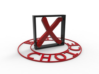 Bad choice red black square 3d white background