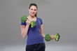Exercise with broccoli dumbbell, symbol