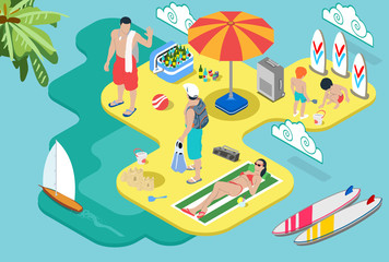 Isometric Beach Life - Summer Holidays Concept