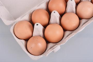 Eggs in a carton box. Isolated