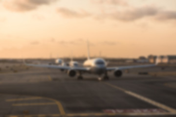 Airplane at Airport. Intentionally Blurred. Background Ready Ima