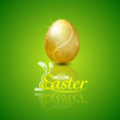 Happy easter with golden egg.Hand lettering.vector illustration - 78361903