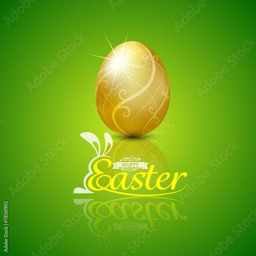 Happy easter with golden egg.Hand lettering.vector illustration - 78361903