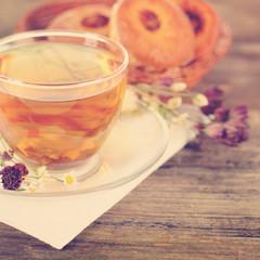 Food background with herbal bio tea