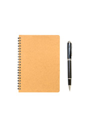 blank brown notebook with pen isolated